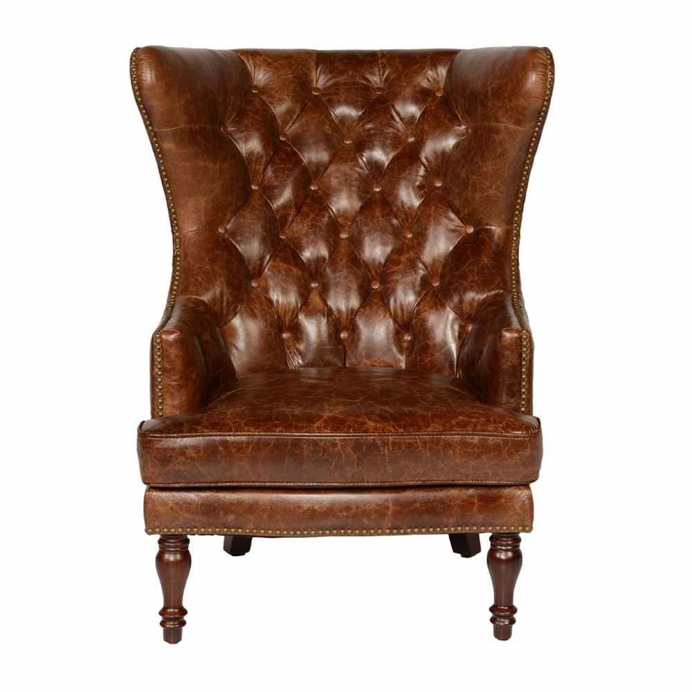 Lazzaro   Sedgefield Wing Back Tufted Back Chair In Cocoa Brompton    1309 50 9021