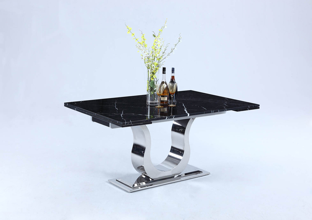 Chintaly Nadia Dining Table In Black Marquina - NADIA-DT