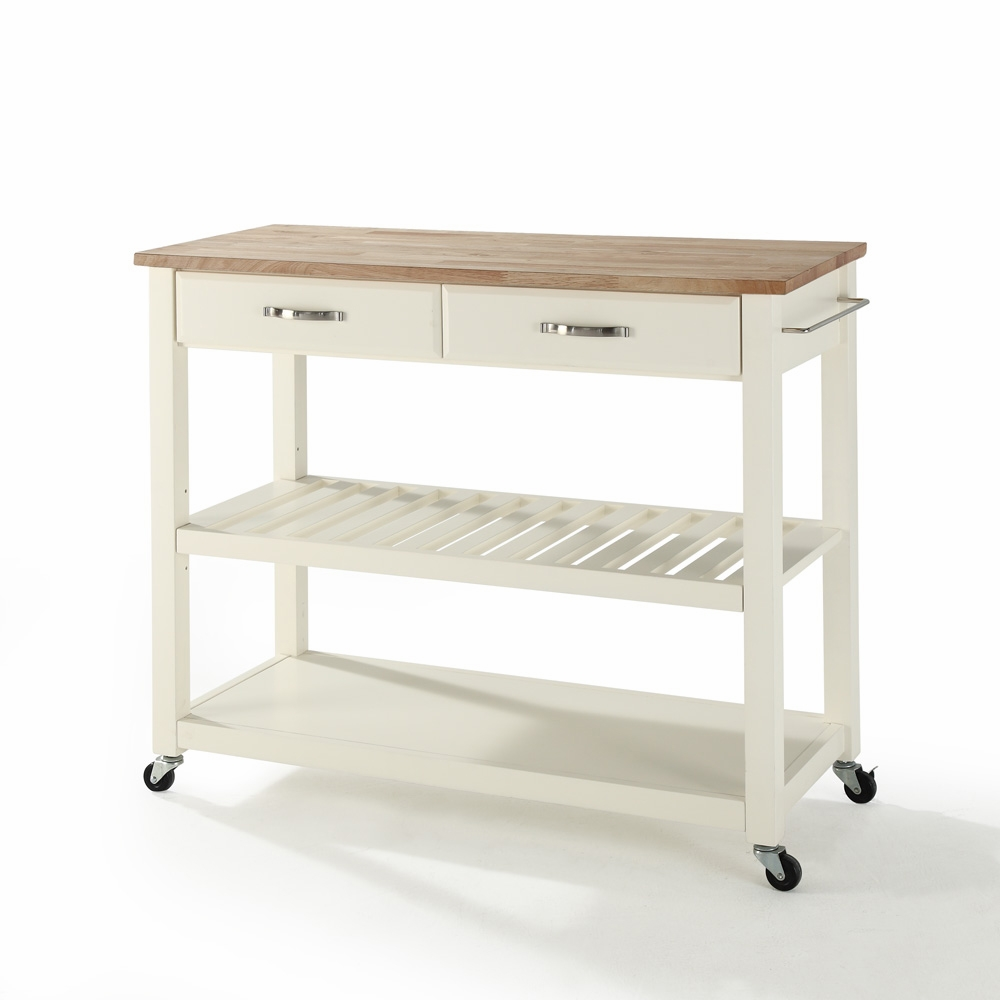 Crosley - Natural Wood Top Kitchen Cart/Island With Optional Stool ...