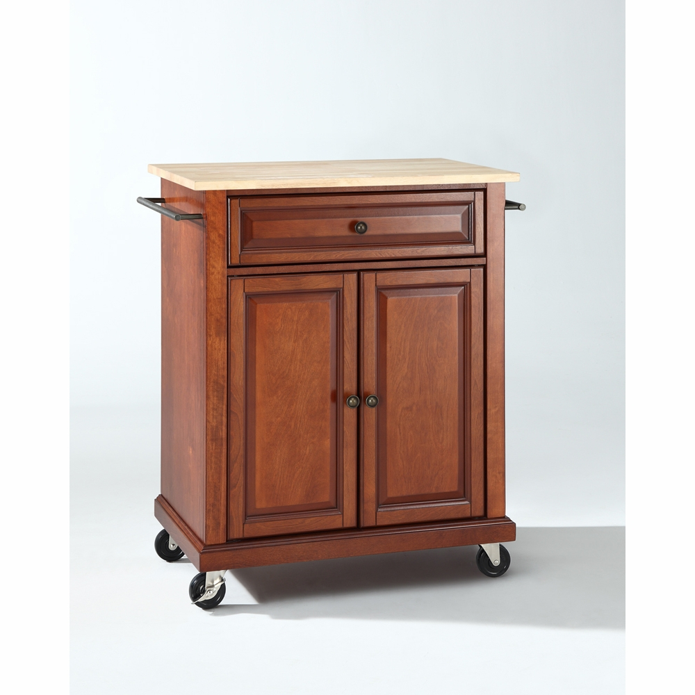Crosley Furniture Natural Wood Top Portable Kitchen Cart Island In Clic Cherry Finish Kf30021ech