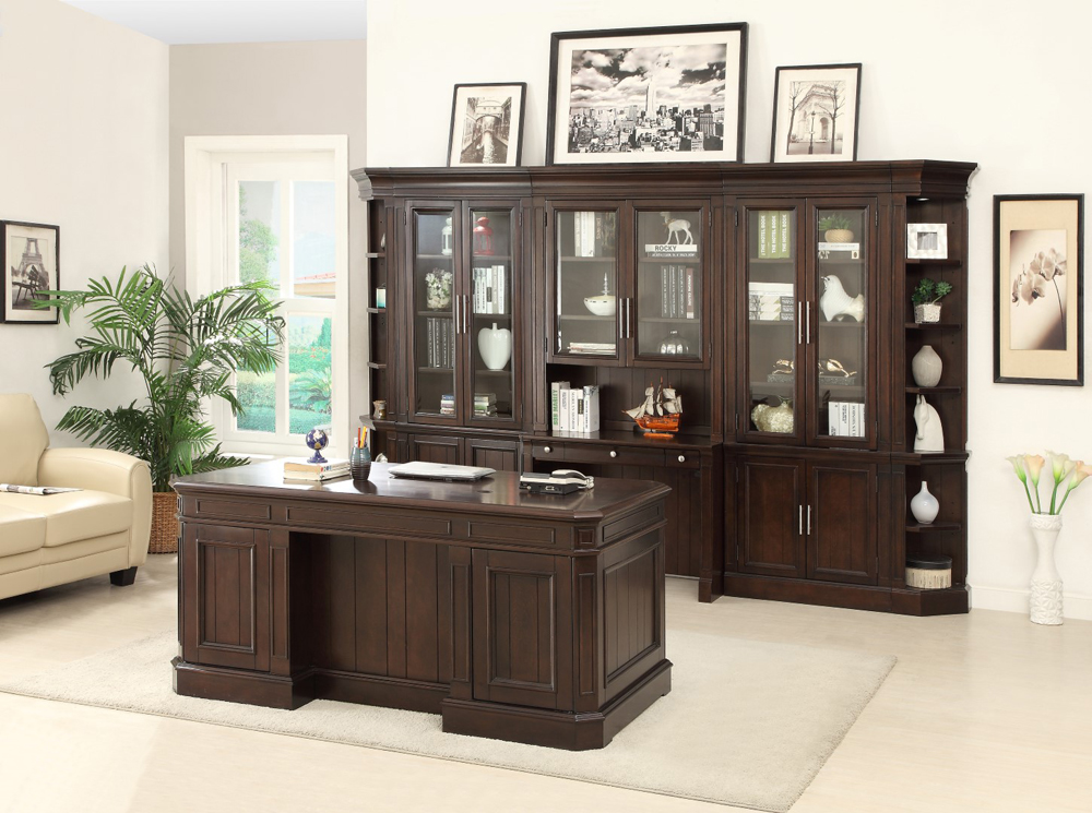 Parker House Stanford 8PC Bookcase With Glass Doors And E...