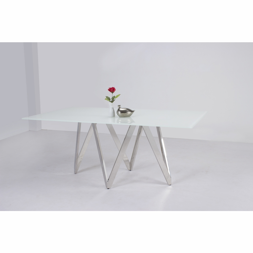 Chintaly Aail Dining Table In Starphire White Gl Dt