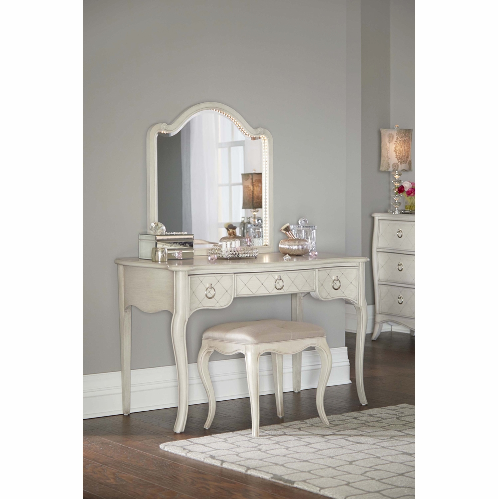 Hilale Kids Angela Desk With Arc Lighted Vanity Mirror And Bench 7107 778ndmb