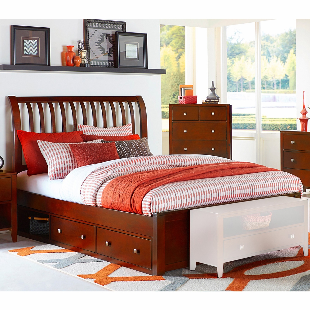 products br sleigh with drawers bed furniture by footboard drawer storage transitional king