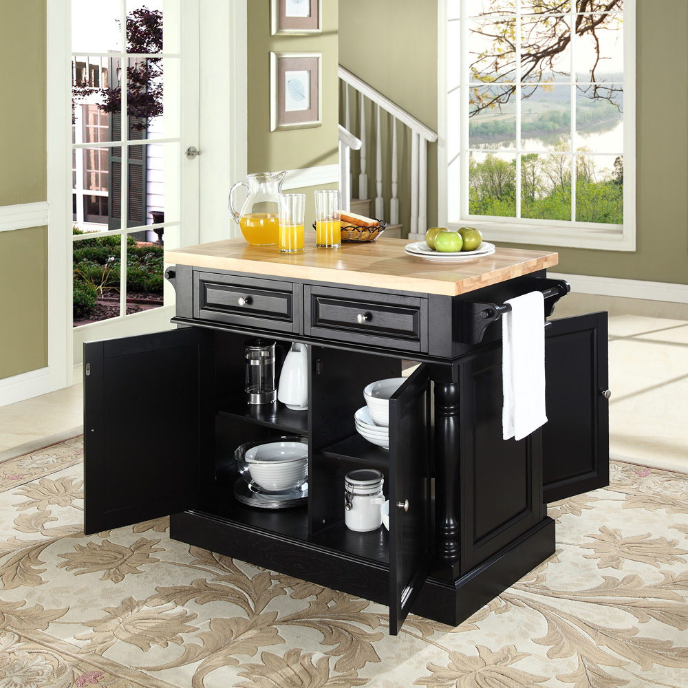 crosley butcher block top kitchen island crosley butcher block top kitchen island in black finish kf30006bk 8661