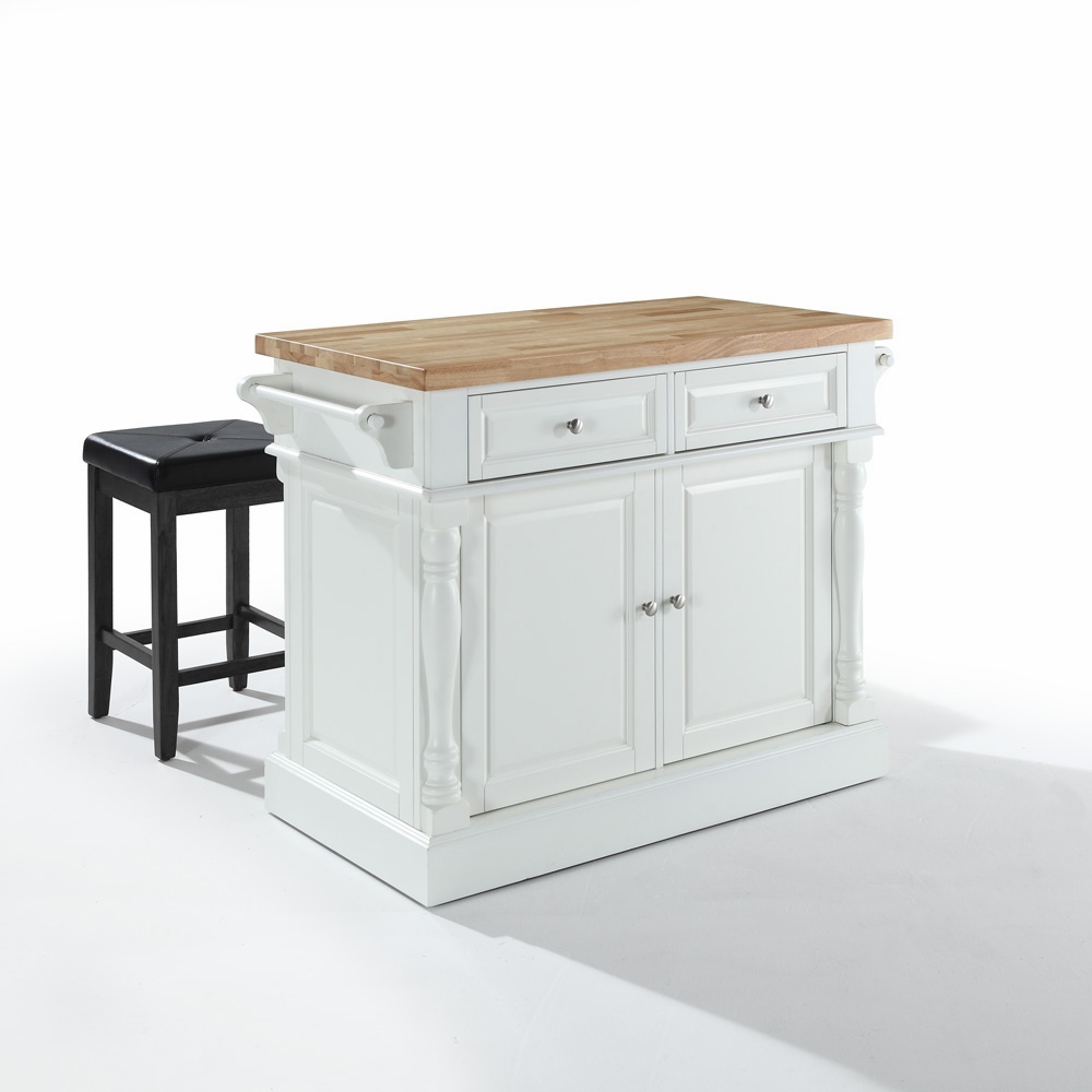 Crosley - Butcher Block Top Kitchen Island in White Finish with 24 ...
