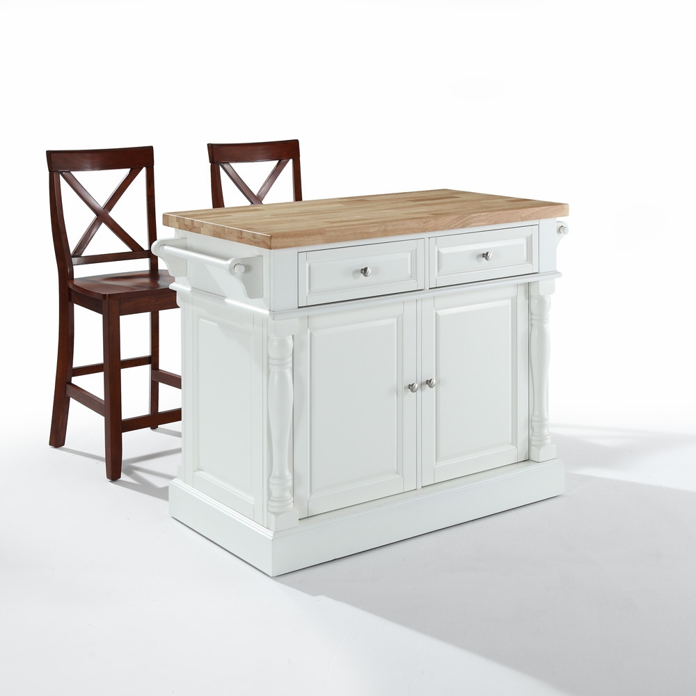 Butcher Block Top Kitchen Island in White Finish with 24