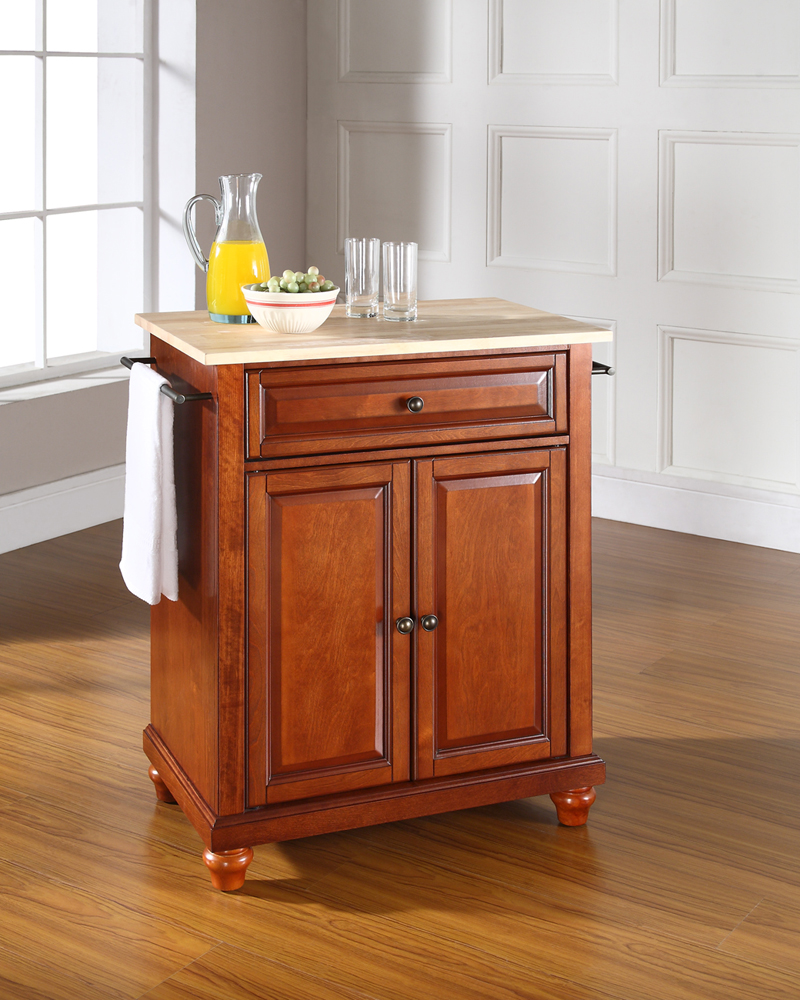 portable kitchen island with seating crosley cambridge natural wood top portable kitchen island in classic cherry finish kf30021dch 6130