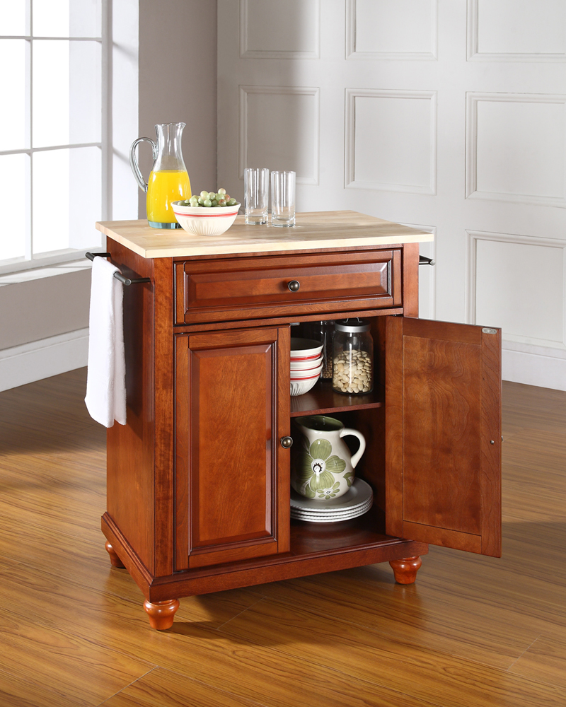kitchen island cherry wood crosley cambridge wood top portable kitchen 19694
