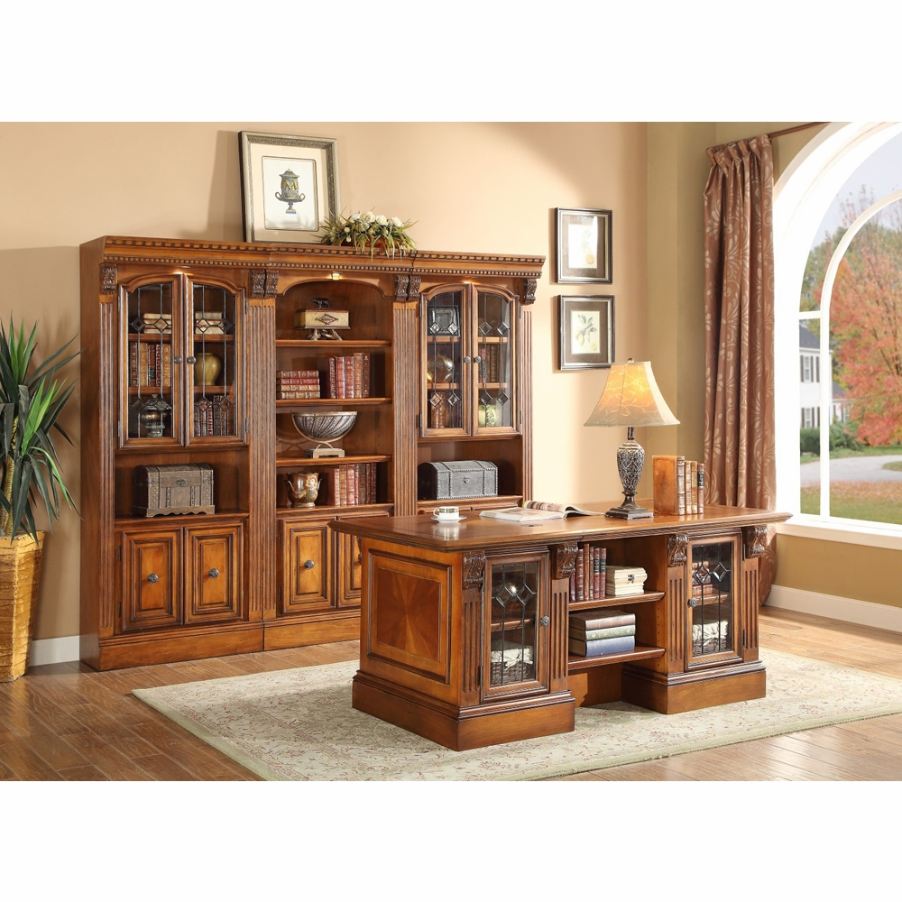 Parker House - Huntington 4PC Executive Desk With Library Wall Set in Antique  Vintage Pecan - Parker House - Huntington 4PC Executive Desk With Library Wall Set