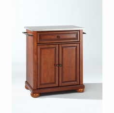Crosley Furniture   Alexandria Stainless Steel Top Portable Kitchen Island  In Classic Cherry Finish   KF30022ACH