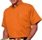 Men's Teflon Treated Short Sleeve Dress Shirt in Orange