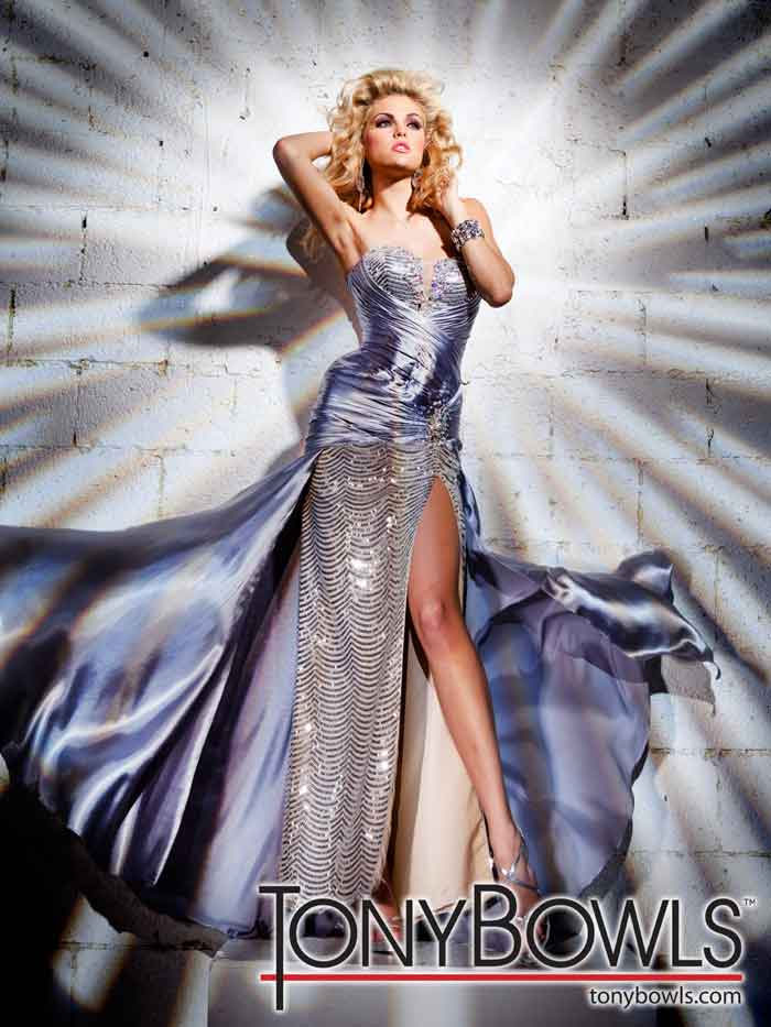 Tony Bowls 2012 Silver and Sequin Long Prom Dress 11239