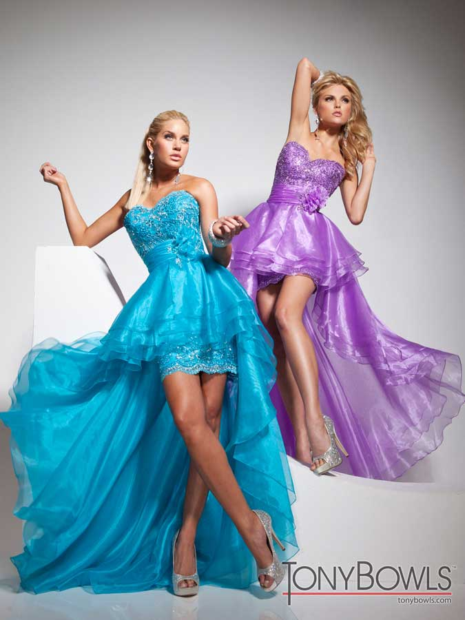 960c1735d3 Tony Bowls 2013 Purple or Turquoise High Low Strapless Lace and Organza  Sweetheart Prom Dress 113715