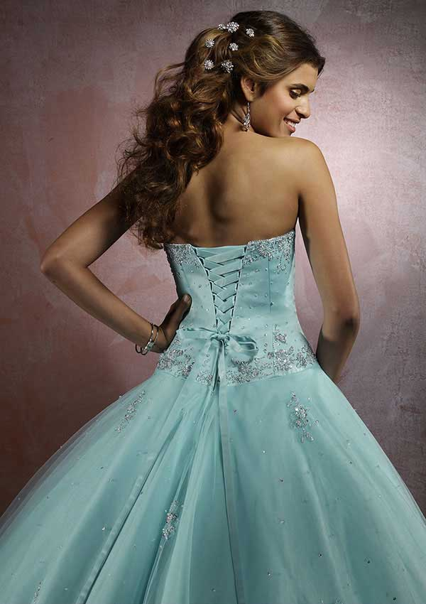 Mori Lee ball gown 86023 - Aqua quinceanera formal dress | Promgirl.net
