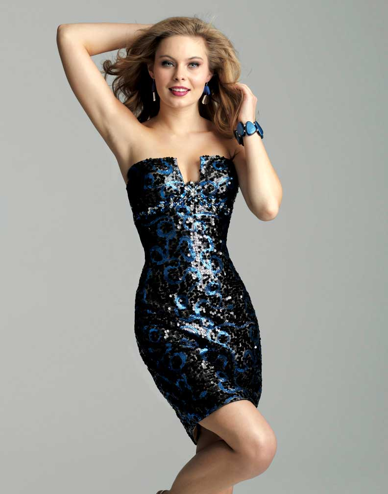 Clarisse 2012 Electric Blue and Black Sequin Short Strapless ...