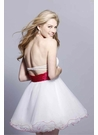White and Fuchsia Short Party Dress 9035