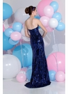 Black and Royal Sparkle Prom Dress 71196