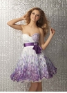 Purple Print Short Formal Dress 17196
