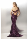 One-shoulder Magenta Sequin Gown 17203