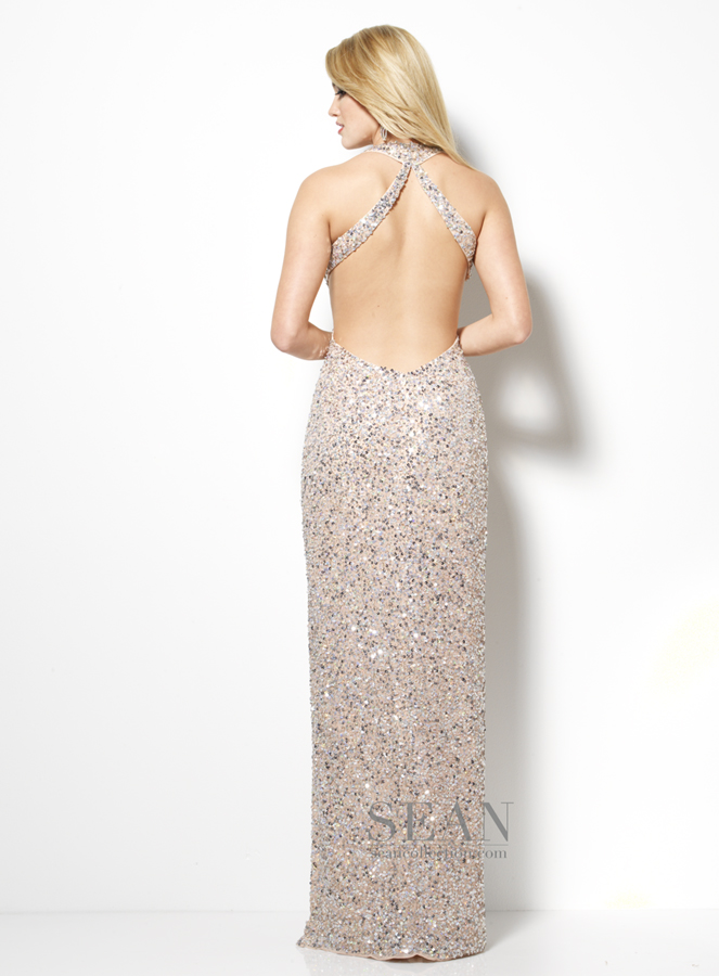 Sean Collection 2013 Nude Sequin Halter V-neck beaded Cut Out Prom ...