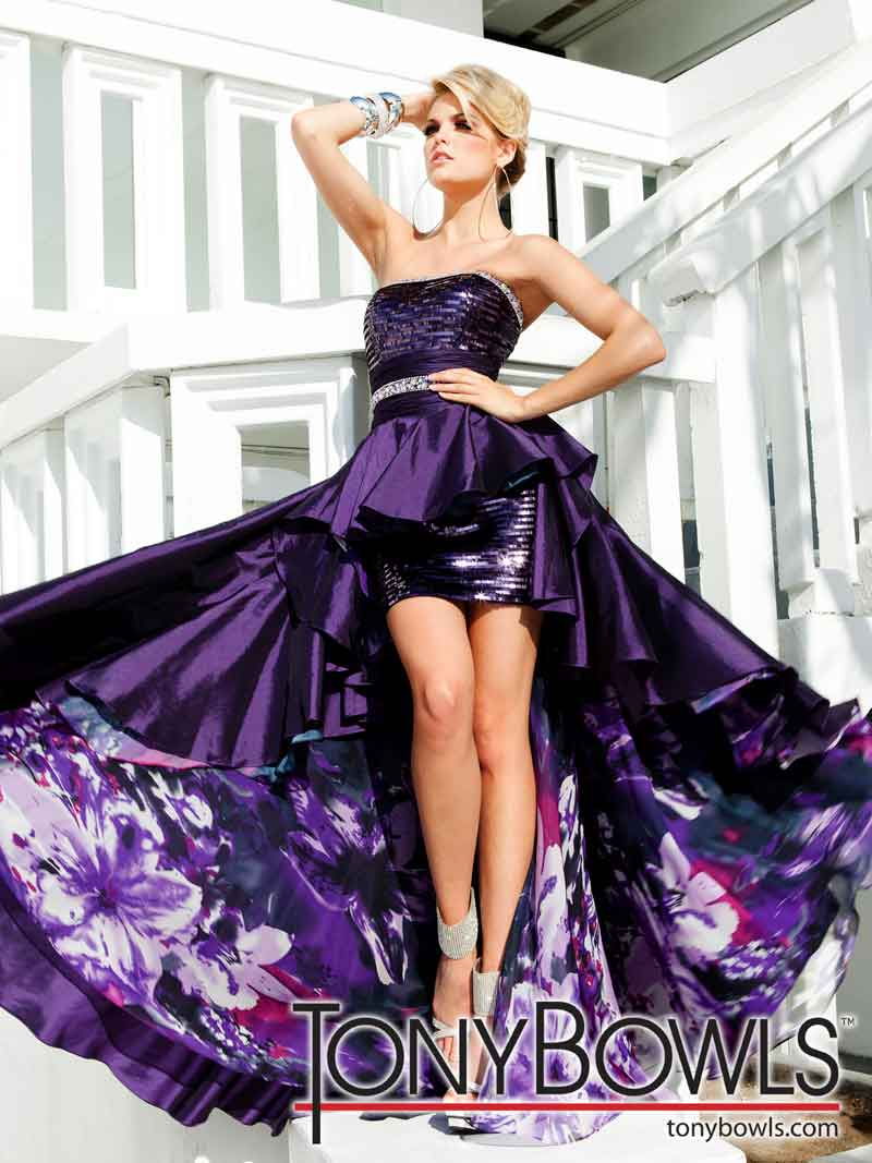 Tony Bowls 2012 Purple and Sequin High Low Prom Dress 11221