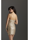 Gold Strapless Cocktail Dress 2219