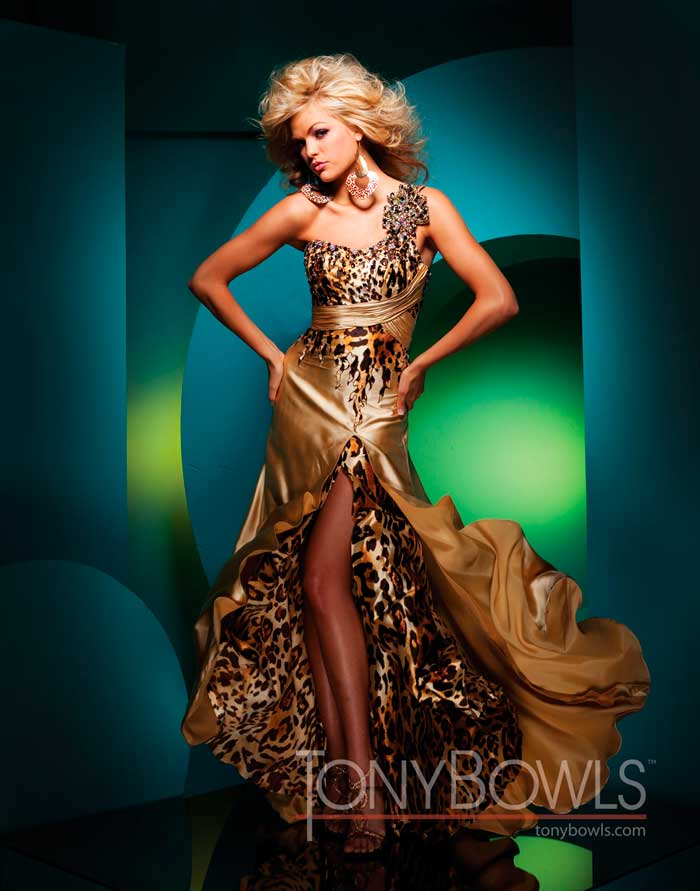 b2398e99886a Gold and Leopard Prom Dress 111701 by Tony Bowls