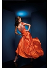 Orange charmeuse Paris Prom Dress 110501