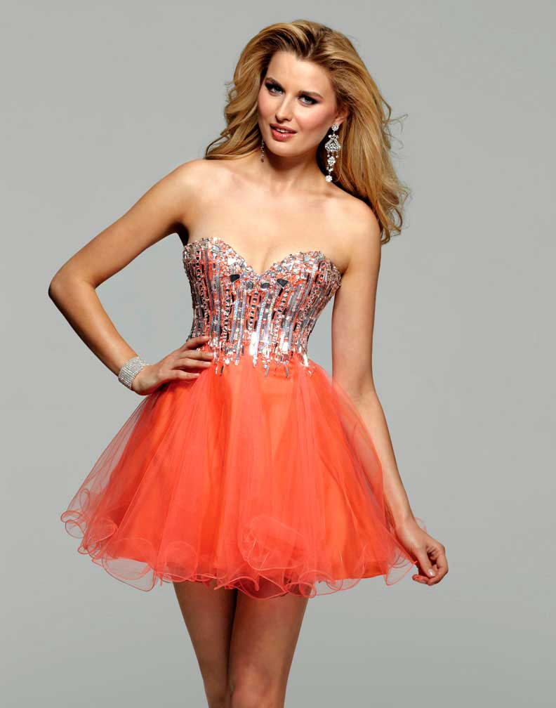 Short orange cocktail prom dresses