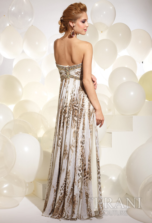 2012 Terani Couture Ivory and Leoaprd Long Prom Dress 620