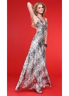 Metallic Animal Print Scala Prom Dress 17072
