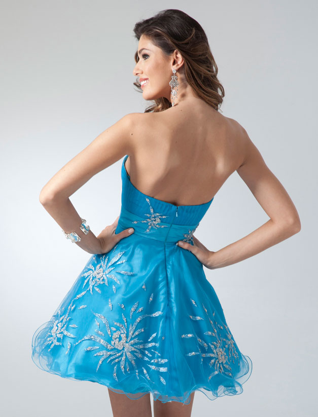 2011 Short formal dresses - Blue or Purple strapless party dress ...