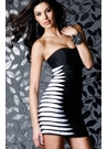 Black and White Pleated Cocktail Dress 1414
