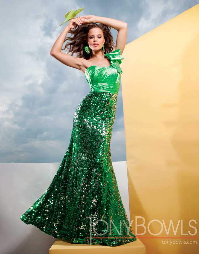Tony Bowls dress 111539 | Turquoise prom dresses | Sequin formal dress