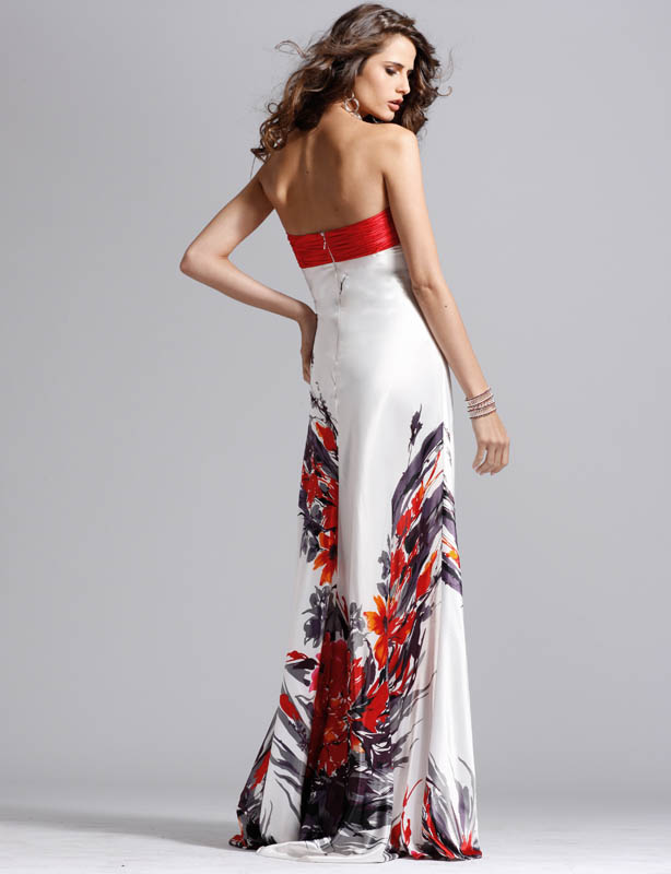 Clarisse prom dress 1394 - Red and white strapless formal gown ...