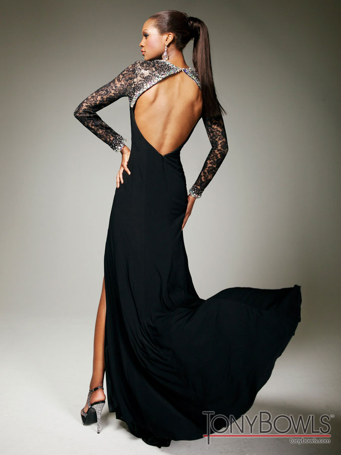 Tony Bowls 2013 Black Lace and Sequin and Beading Elegant Evening ...