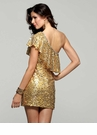 Ruffle Neck Gold sequin Cocktail Dress 2031