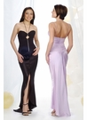 Ruched Silk Evening Gown 9102