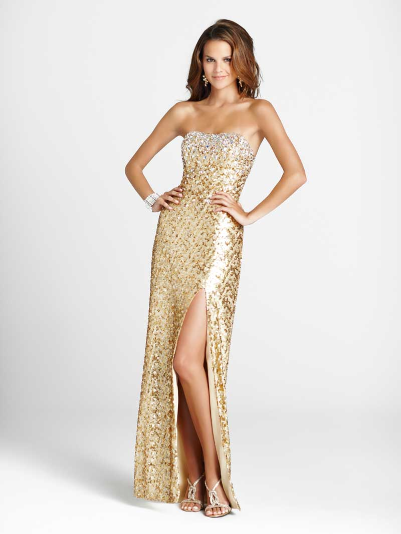 Blush prom dress 9244 gold sequin evening gown | Promgirl.net