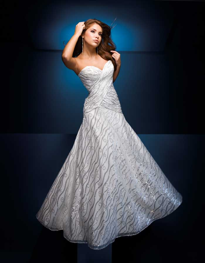 White and Silver Paris Prom Dress 110549