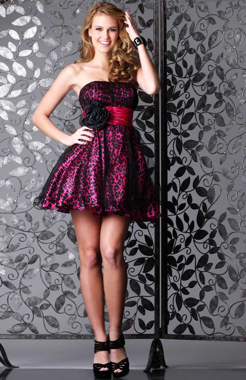Leopard Hot Pink Short Dress