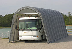 Rv covers rv shelters garages class a b c rv for Class a rv with car garage