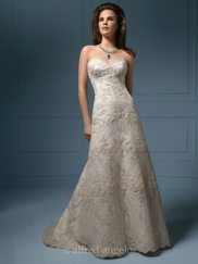 Romantic Strapless Wedding Bridal Dress Alfred Angelo 801