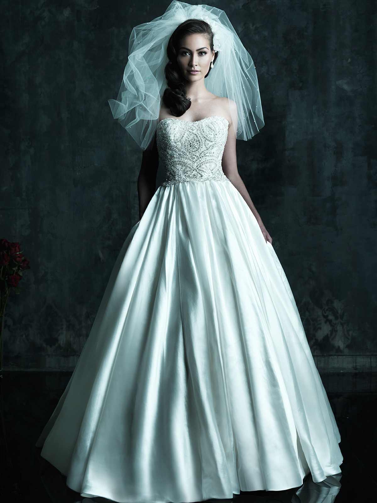 Strapless Gathered Satin Skirt Allure Couture Wedding Ball Gown C247 ...