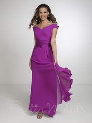 Off The Shoulder Pleated Pretty Maids Bridesmaid Dress 22534