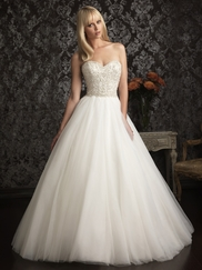 Strapless Tulle Allure Bridals Wedding Gown 9006