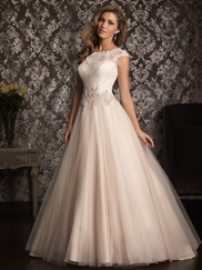 Allure Bridals Lace Beaute Neck Bridal Gown 9022