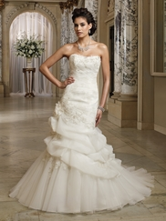 Strapless Pick Ups Skirt 3D Flowers Wedding Gown Lona David Tutera By Mon Cheri 212256
