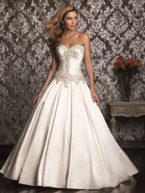 Ivory allure bridals fitted top ball gown 9003 for Fitted ball gown wedding dress
